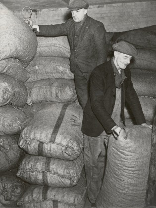 picure of some dockers with sacks and hooks
